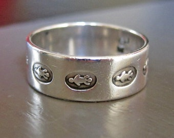 Wide Band Sterling Silver Turtle Ring Size 9.5 Fits Smaller
