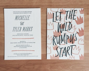 Let the While Rumpus Start Custom Baby Shower Invitations