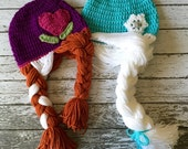 Anna and Elsa Inspired Hat/ Crochet Anna and Elsa Wig/ Available in Newborn to Child Size- MADE TO ORDER
