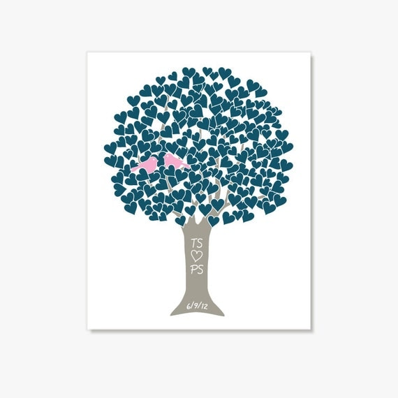 Personalized Heart Tree w Love Birds in Blue Pink Taupe - Digital Print Monogram, Name, Date - Engagement, Shower, Wedding