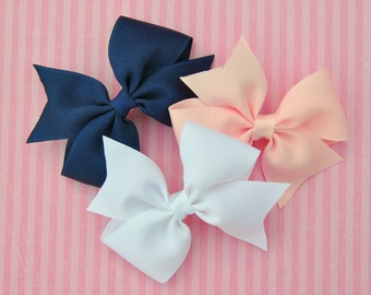 3-pack of Classic Hair Bows - White, Pale Pink, & Navy