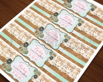Burlap, Lace, Vintage, Shabby Chic Baby Shower DIGITAL CUSTOM Water Bottle Labels