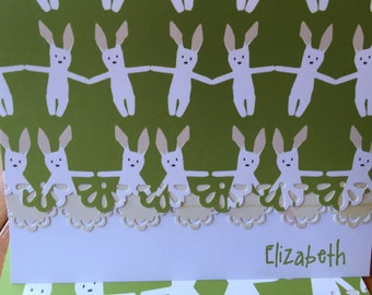 Hop hop little bunny! personalized handcrafted Note Cards - personalization may be left off  Set of 5