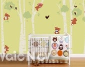 Large Birch Trees with Bears Wall Decals - Nursery Wall Decals, Baby Nursery Wall Sticker -  PLTBRS060 - CHECK OUR SUMMER Deals!!!