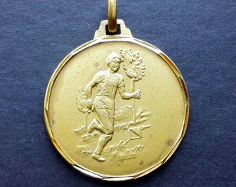 50s Sport Running Medal Jeton Pendant Brass Olympic Games Collectibles