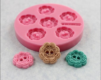 Small Button Mold 7/8 inch Crochet Look Resin, Fondant, Polymer Clay, Wax, Chocolate  (363)