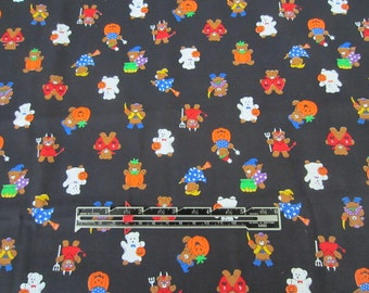 Halloween Fabric. Teddy Bears in trick or treat costumes. VIP for Cranston Works fabric. 1  yard.