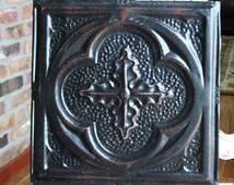 "Genuine Antique Ceiling Tile -- 12"" x 12"" -- Distressed Black Paint -- Deeply Embossed Design"