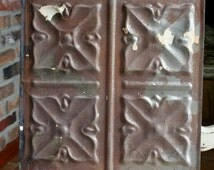 """Genuine Antique Ceiling Tile - 12""""x12"""" - Rusty Metal Patina -- Abstract Flower Design"""