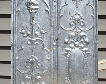 """Genuine Antique Ceiling Tile - 12""""x12"""" -- Distressed Silver Paint -- Rare Victorian Design with Torch"""