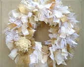Wedding Wreath, White Wreath, Burlap Wreath, Church Door Wreath, Boho Wedding Decor, Rustic Wedding Decor, Ribbon Wreath, Fabric Wreath