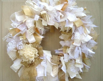 Wedding Door Decor, White Wreath, Lace Rag Wreath, Cottage Chic Wreath, Church Door Wreath, Boho Wedding Decor, Rustic Wedding, Shabby Decor