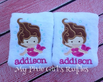 Personalized Swimming Mermaid Hand Towels