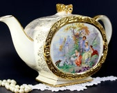 Oval Sadler Tea Pot, Vintage Footed Sadler, Bow Handle, Oval Teapot, Victorian Scene  12631