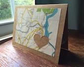 I love Monroe CT 06491 - 1 blank handmade greeting card