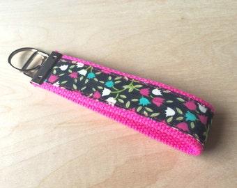 Fabric wristlet keychain, key fob - Tulips