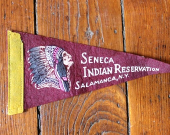 State Pride... Vintage Seneca Indian Reservation, Salamanca, New York Felt Pennant, Travel Pennant, Souvenir Pennant