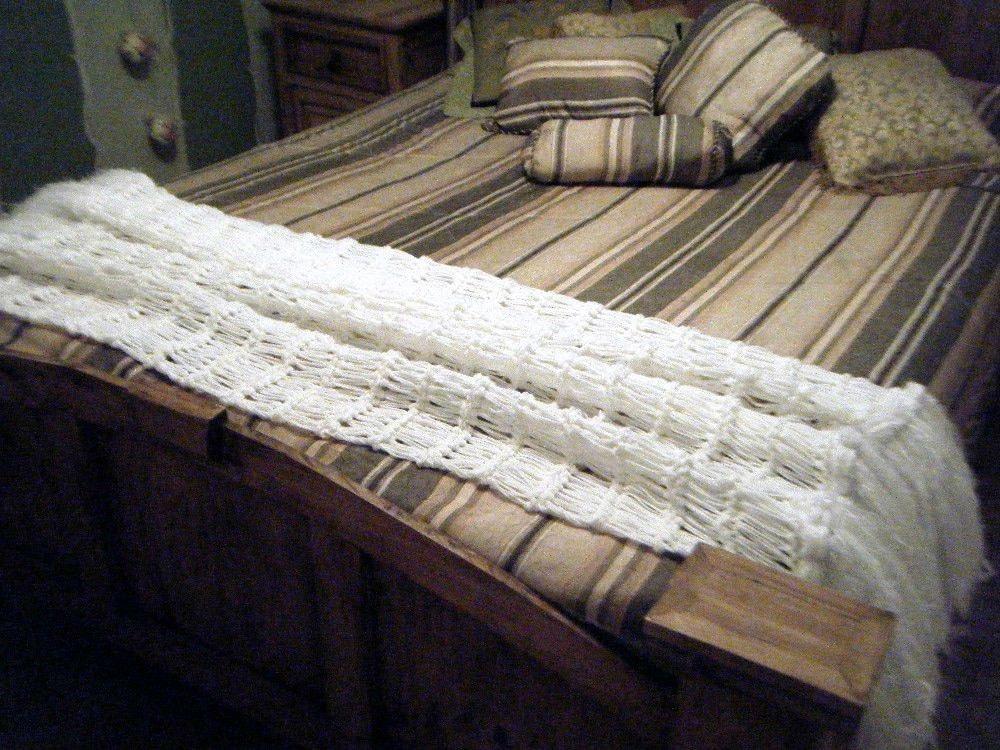 White Home Decor Fringe Blanket. White Throw Shabby Chic
