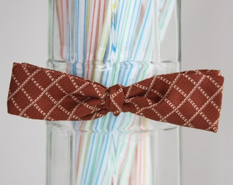 White Lattice Copper Self Tie Bow Tie