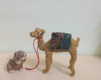 3 inch crochet miniature camel - mini amigurumi - dollhouse decorative stuffed animal
