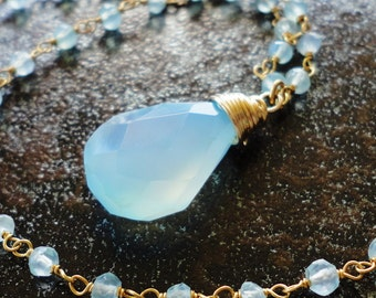 Chalcedony Briolette necklace with chacedony beaded chain