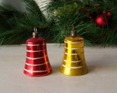 Vintage Christmas Ornaments Red and Gold Bell Shaped Ornaments Christmas Tree Glass Ornaments Vintage 1950s