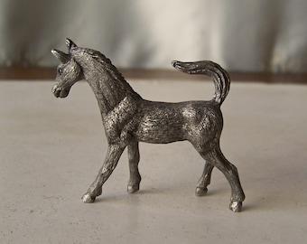 Vintage Pewter Horse Pewter Figurine Stallion Miniature Pewter Horse 1990s