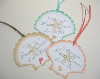 10 Wedding Tags - Personalized Tags - Seashell Starfish Seashore Tags - Tropical Wedding - Destination Wedding - Beach - Aqua Coral Tags