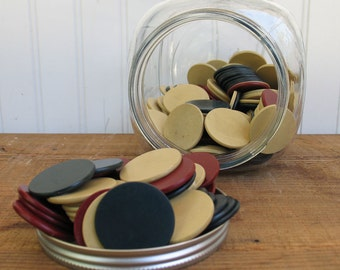 Vintage Clay Poker Chips in Glass Jar