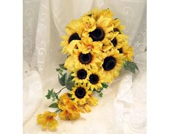 Sunflower Teardrop Wedding Bouquet