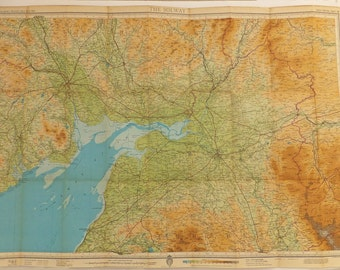 The Solway map, large vintage map of the Solway, Vintage Bartholomew's map, map poster, very large map