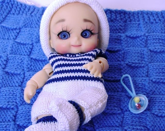 194. French and english knitting pattern PDF - Rompers, hat and bootees for BJD doll Nappy choo