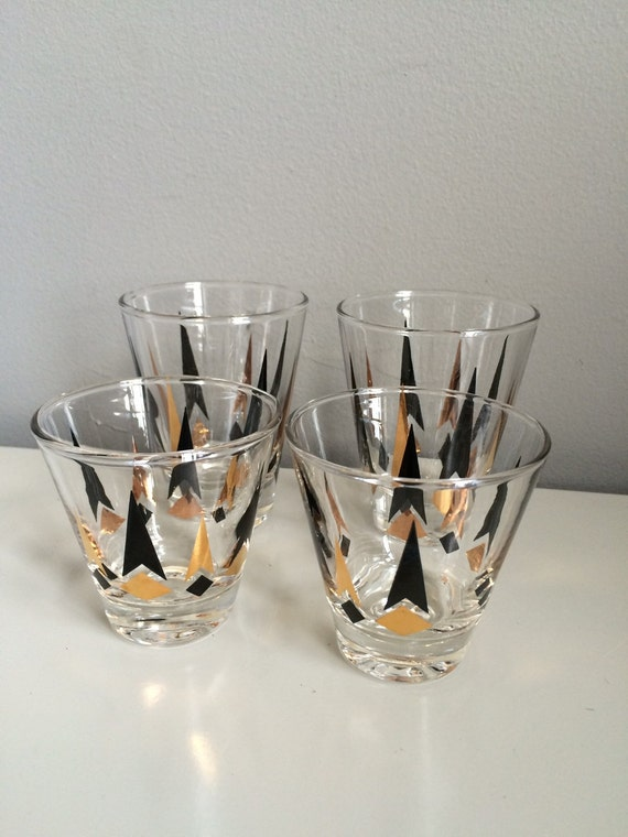 Vintage Mad Men Era Black and Gold Arrow Cocktail Glasses shot