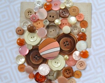 Vintage Button Lot - Pink, Peach, Tan and Cream Sewing Set - Mix 914