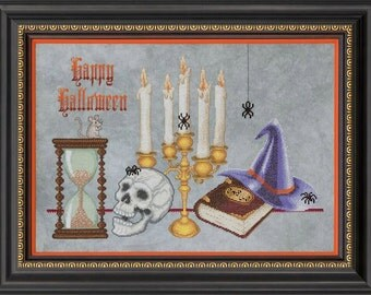 SPELL BOUND - Halloween Counted Cross Stitch Pattern witch hat skull spiders happy halloween cross stitch needlework pattern chart