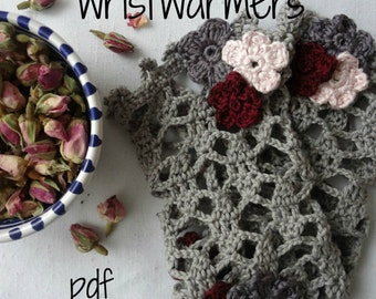 Crochet Pattern - cuffs, wrist warmers, crocheted warmers, crochet flowers