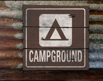 Campground Roadside Sign, Handcrafted Rustic Wood Sign, Mountain Decor for Home and Cabin, 2073
