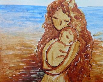 "Motherhood sketch Friday painting ""You should be safe"" original on paper by Gioia Albano"