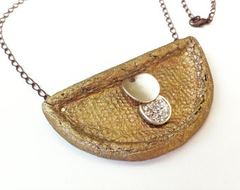 One of a kind Artisan necklace, 50th Anniversary gift for wife, Modern jewelry, Gold paper necklace