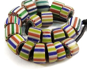 20 Chevron Venetian Trade Beads Rainbow Loose Africa 94570