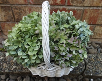 Mothers Day   Hydrangea Basket  Hydrangea Floral Arrangement  May Day Basket  Wicker Basket Home Decor  Floral Arrangement