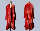 1920s Coat / Luxurious Silk Velvet Cape Coat / Flapper Opera Cloak / Cocoon Coat