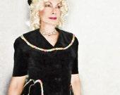 40s Velvet Jacket - Vintage 1940s Black Velvet Long Top - Short Sleeves