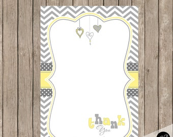 Yellow and Gray Baby Shower Thank You Note Card with hearts, baby shower thank you note, baby shower, INSTANT HYG01