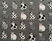 Japanese cotton fabric cat printed Half yard Grey colour