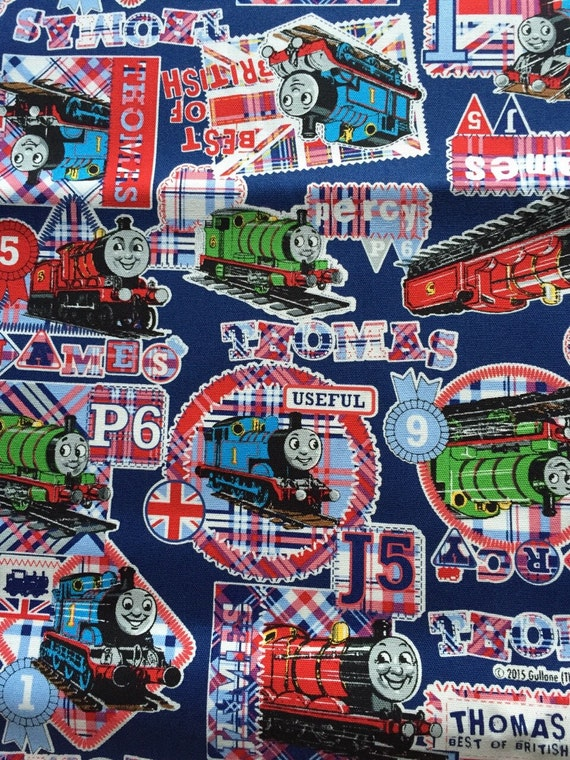 Thomas the train one yard fabric navy blue colour for Train fabric by the yard