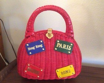 1950s 1960s Handbag Novelty Travel Wicker Purse 50s 60s Paris Hong Kong Rome Madrid