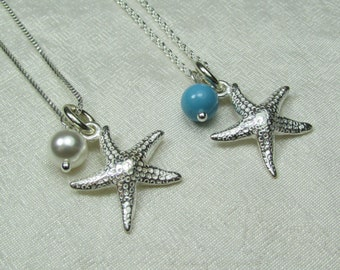 Bridesmaid Gift Starfish Necklace Bridesmaid Necklace Bridesmaid Jewelry Beach Wedding Jewelry Pearl Necklace Bridal Necklace Beach Jewelry