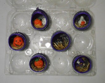 purple halloween diorama gourd ornament with glow in the dark highlights and glitter - Halloween Diorama Ideas