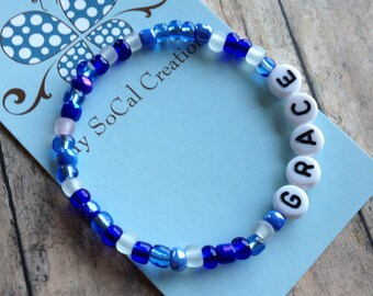 Personalized Beaded Stretch Bracelet-Name Bracelet-White Letter Beads-Any Name-Any Word-Any Phrase-Sapphire Blue Mix